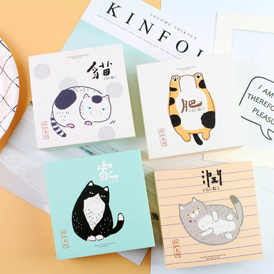 4 Pcs/lot Cat Memo Pad Memo Pad Gift Cute Kawaii Animal Sticky Notes Memo Notebook Stationery Papelaria Escolar School Supplies