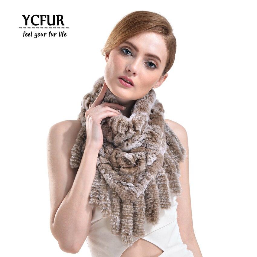 YCFUR Ladies   Scarf   Winter Knit Rex Rabbit Fur   Scarves     Wraps   Women Trendy Neck Warmer Ring   Scarf   Female