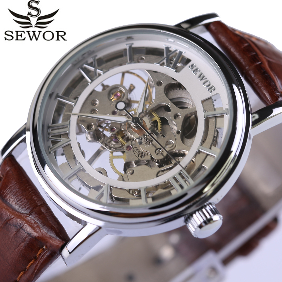 купить Classic Design Skeleton Brown Leather Strap Silver Case Transparent Case Men Watch Top Brand Luxury Mechanical Watches Clock New недорого