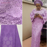 African Lace Fabric 5yds Pce 100 Cotton Material Blue Water Soluble For Women Dress 2017 New