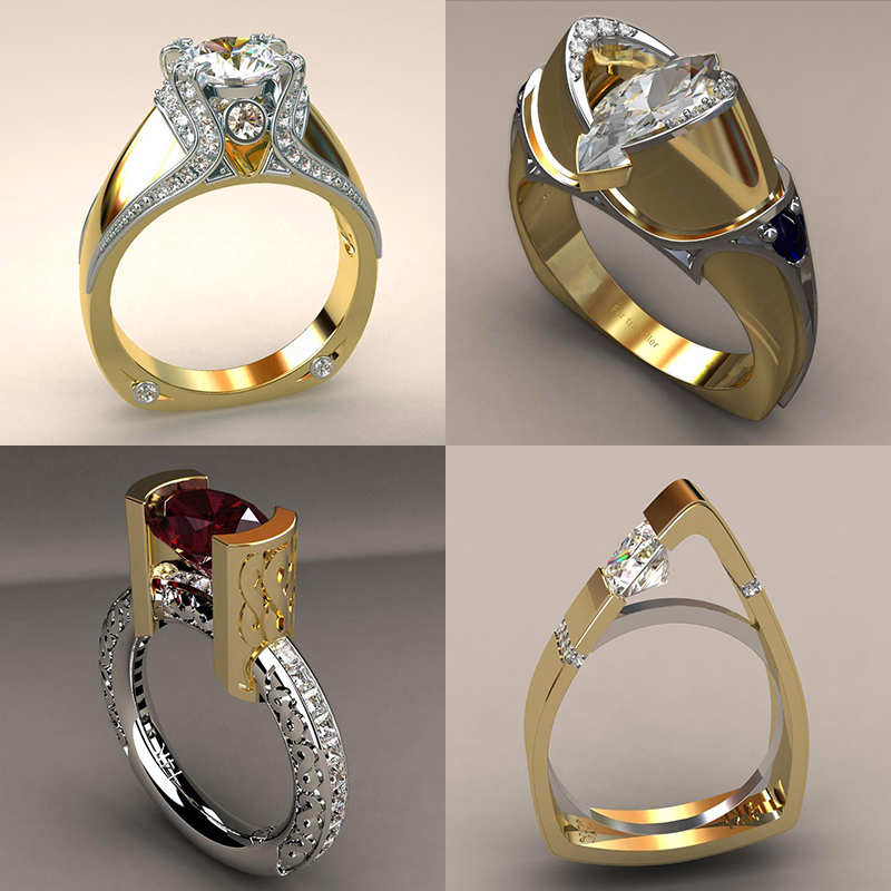NEW Vintage Female Zircon Stone Ring Unique Style Crystal Silver Gold Color Wedding Ring Promise Engagement Rings For Women