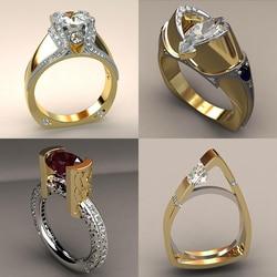Yeni Vintage kadın zirkon taş yüzük benzersiz tarzı kristal gümüş altın rengi alyans Promise alyans kadınlar için