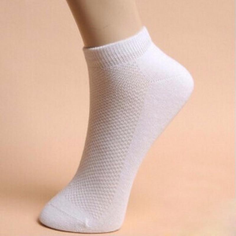 5pair Mens Ankle Socks For Men Summer Mesh Breathable Thin Boat Socks For Male Solid White Mens Socks Brand Human