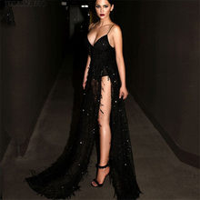 Long Black Sequin Dress Women Sexy Spaghetti Strap Tassels Deep V Neck Thigh  High Split Maxi Party Dress Backless Evening Gowns 59d67bc4cf2e