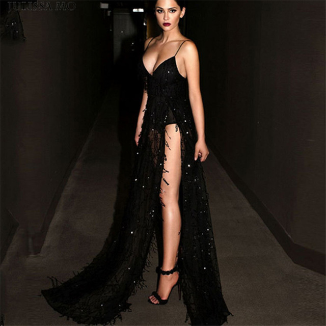 Long Black Sequin Dress Women Sexy Spaghetti Strap Tassels Deep V Neck  Thigh High Split Maxi Party Dress Backless Evening Gowns