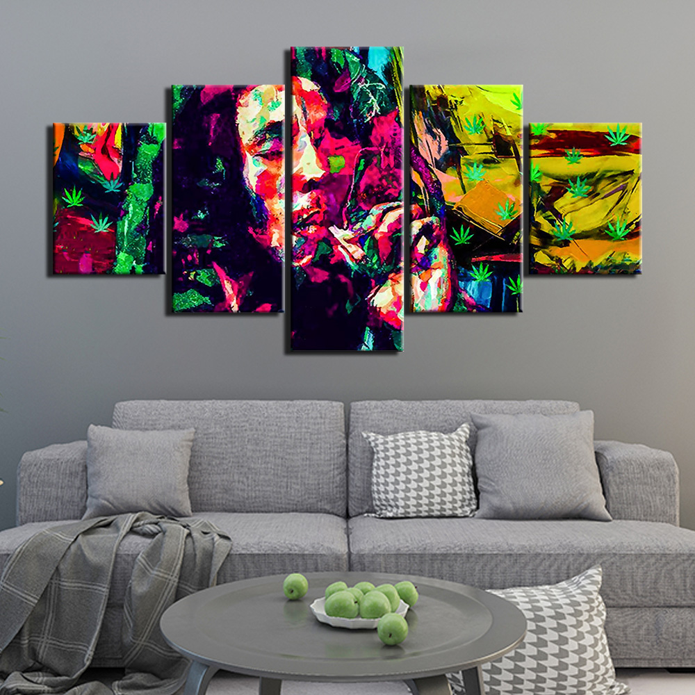 Print bob marley weed Canvas Wall Art 5 Panels Posters Painting music Pictures for Bedroom Home Decor Artwork Framed image