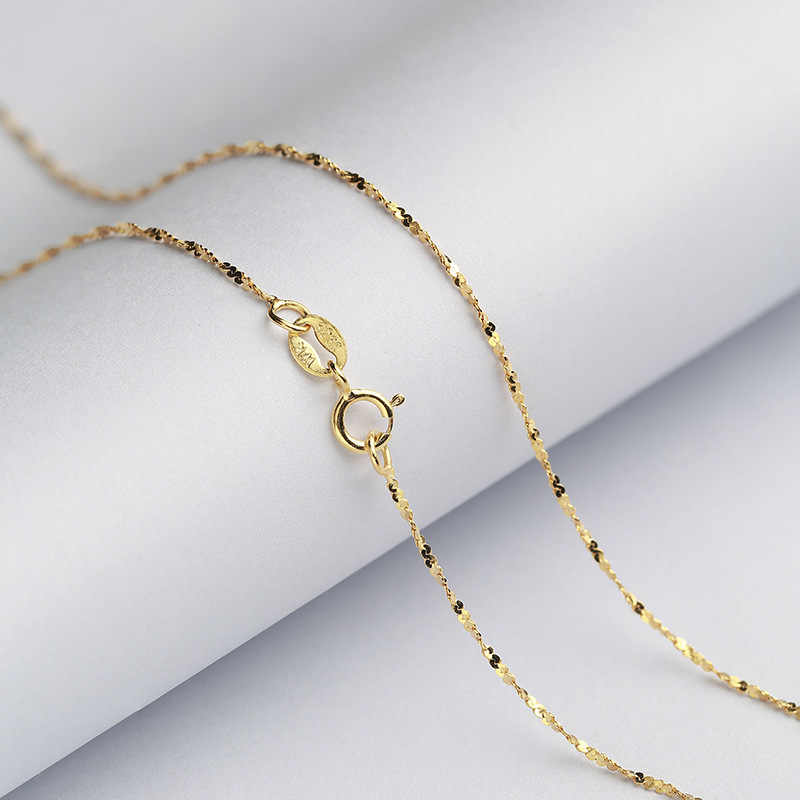 Starry Brilliant 1.2 MM Sterling Silver Chain Solid 925 Italy Necklace 16 & 18 Inches White/Rose/Yellow Gold Color