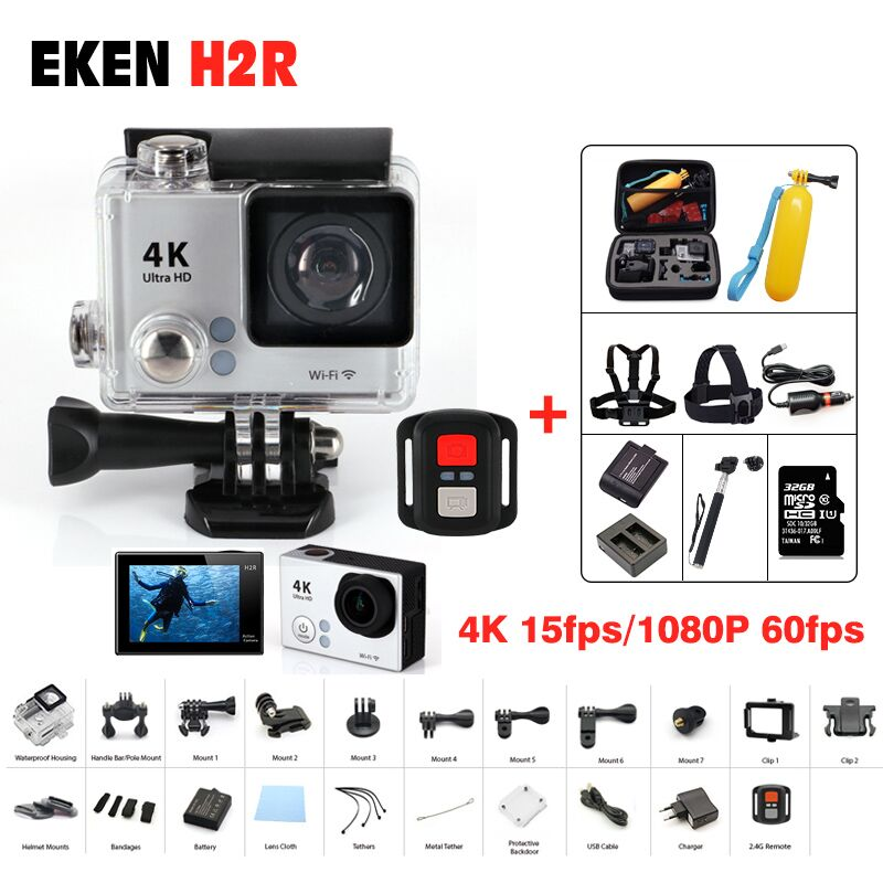 Action camera Original EKEN H2R Remote Ultra hd 4K wifi Camera 1080P /60fps 2.0 LCD 170D 4 K 15fp pro sport waterproof go Camera 2017 original eken h9r sports action camera 4k ultra hd 2 4g remote wifi 170 degree wide angle