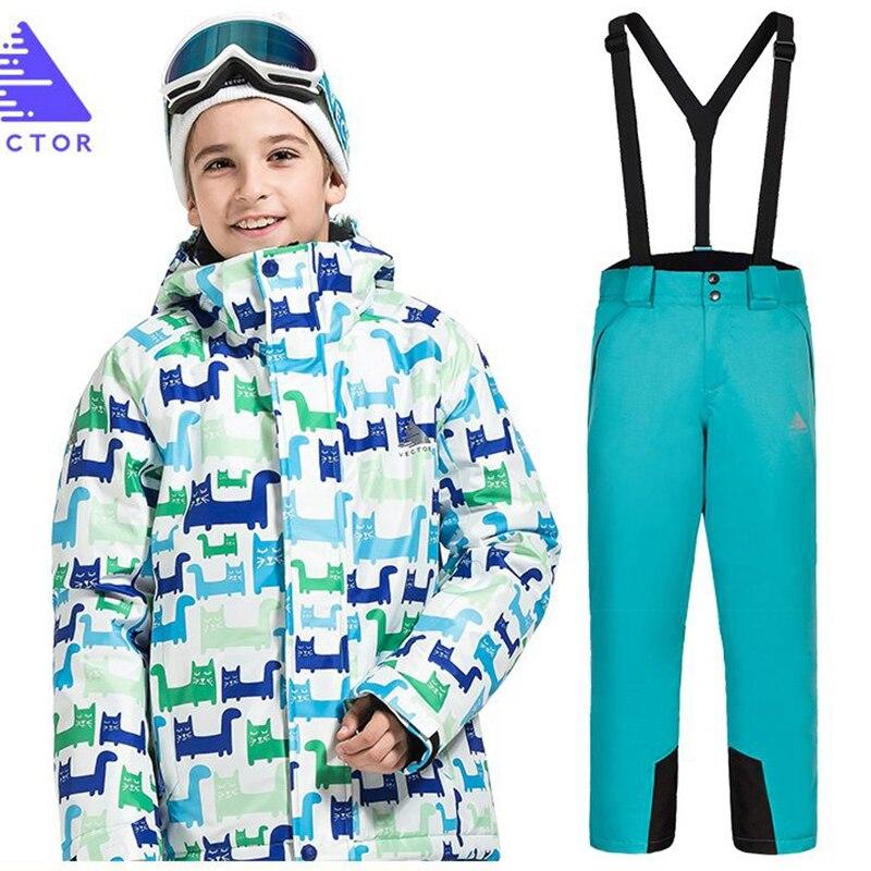 Enfants Ski costume enfants marques coupe-vent imperméable chaud garçon neige ensemble pantalon hiver Ski et snowboard veste enfant vêtements