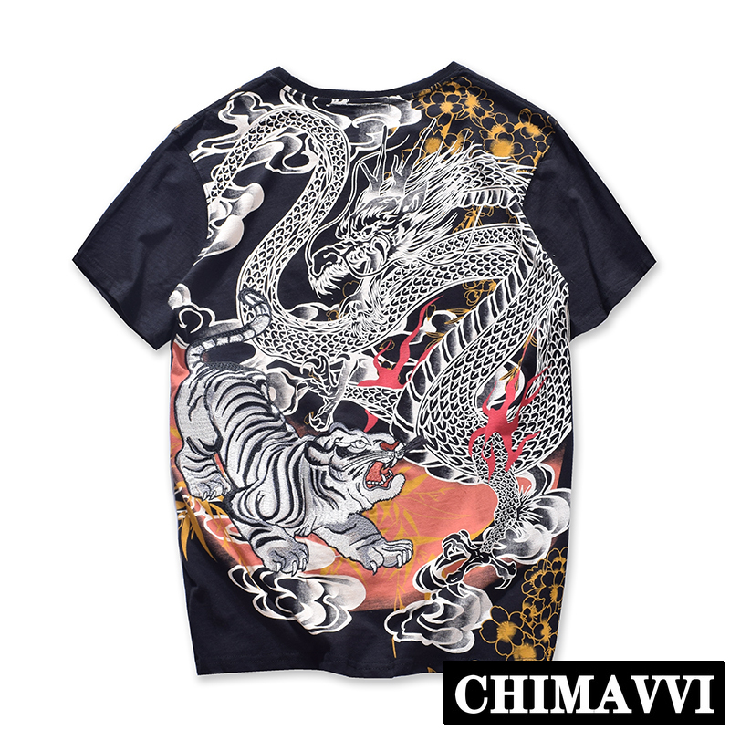 Japanese Dragon Tiger Fight Embroidery Yokosuka T shirt Male Loose Short SleeveTee Couples Women and Men Pure Cotton Tshirt Tops
