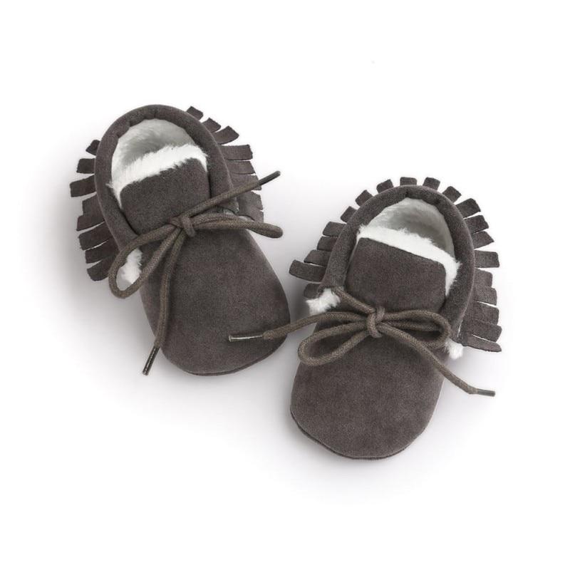 Купить с кэшбэком Newborn Baby Boy Girls Moccasins Plus Velvet Shoes Soft Soled Non-slip Footwear Shoes PU Suede Toddler First Walkers Shoes