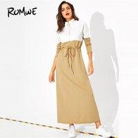ROMWE Drawstring Waist Two Tone Hijab Dress Stand Collar High Waist Women Clothes 2019 Zipper Long Sleeve Long Dress