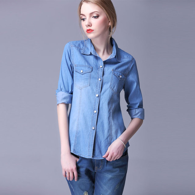 1b539f6c377363 Autumn Shirts Women New Denim Shirt Blouse Female Turn Down Collar All  Matches Long Sleeve Blouses Shirt Women Plus Size Tops