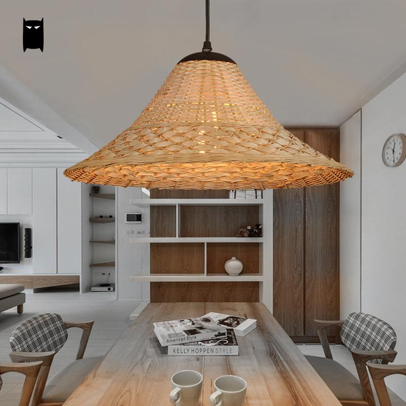 Bamboo Wicker Rattan Hat Shade Pendant Light Fixture Vintage American Ceiling Lamp Fittings for Kitchen Bar Dining Room E27 Bulb bamboo wicker rattan bugle shade pendant light fixture rustic vintage hanging lamp design bar study room kitchen balcony hallway