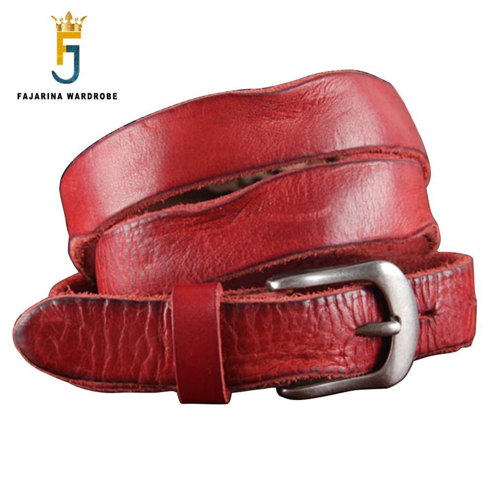 FAJARINA Designer Ladies High grade Fold Retro Cowhide Genuine Strap Red Leather Belts for Women 2