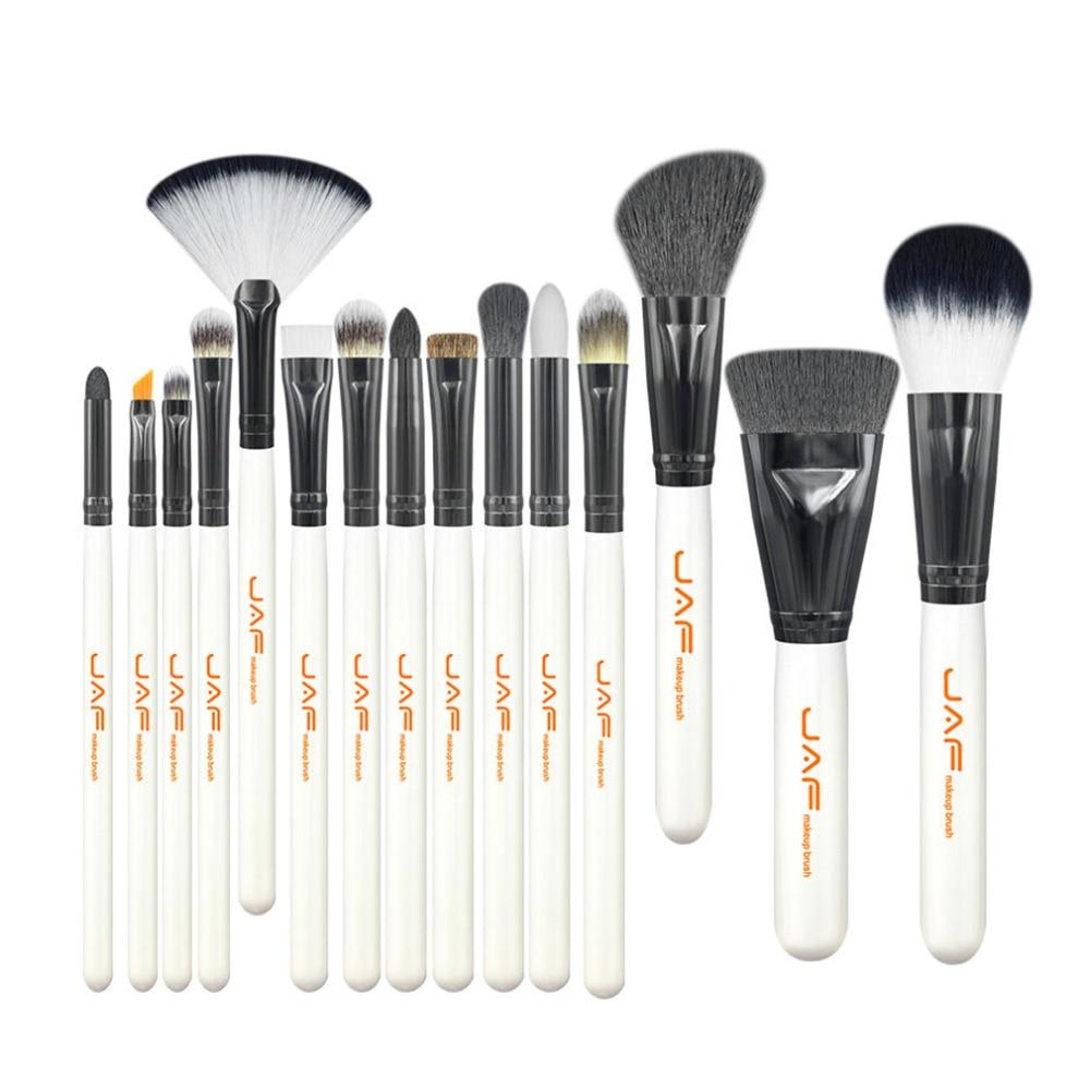 15pcs/set Portable Size Women Facial Makeup Brushes Wooden Handle Facial Cosmetic Makeup Brushes Tool J1503M-W