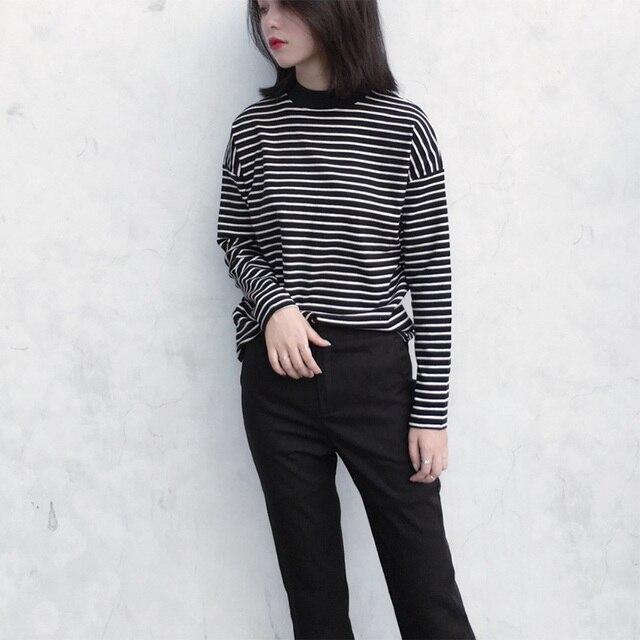 d212aeb1af50 Jlong 2018 New Women Turtleneck Korean Style T Shirt Harajuku Crop Top Long  Sleeved Striped Tops