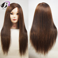 "New Arrival Mannequin Head With Hair 18"" Human Hair With Synthetic Hair Training Head For College Hairdressing Curl Iron Hairsty(China)"