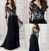 Luxus Schwarz 2016 Abendkleid Appliques Chiffon Arabischen Muslimischen Formale Kleider Für Hochzeit Promi Guest Kleid