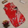 Los niños de los Bebés Sin Mangas Cheongsam Chino Retro Pavo Real Vestido de Una sola Pieza 2-8Y