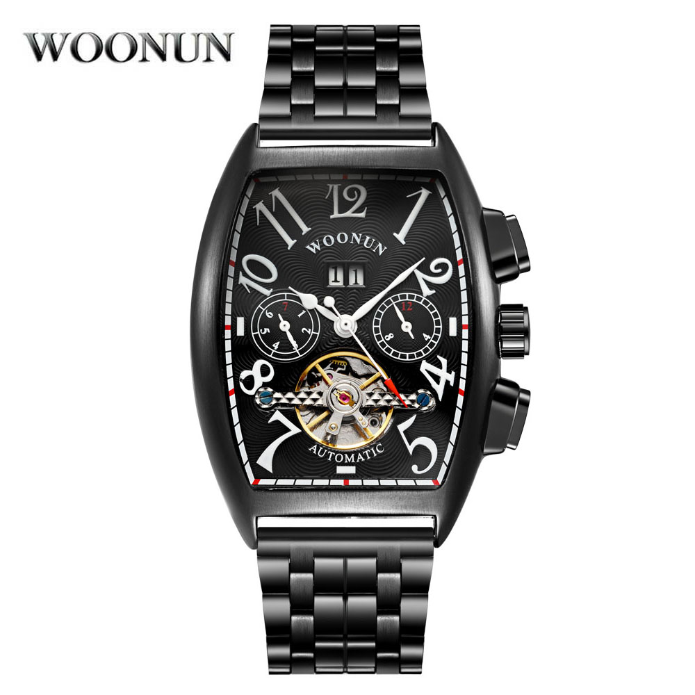 reloj hombre Tonneau Mens Watches Black Stainless Steel Automatic Mechanical Wrist Watches For Men Tourbillon Mechanical Watch business men mechanical wrist watches automatic self wind stainless steel power watch for male reloj hombre silver with gold
