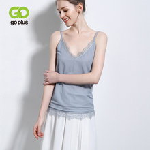 купить GOPLUS Fashion Sexy Lace Patchwork Tank Tops Women Camisole Soft Cotton Basic Vest Ladies Casual Elastic Slim Camis Female Top по цене 639.52 рублей