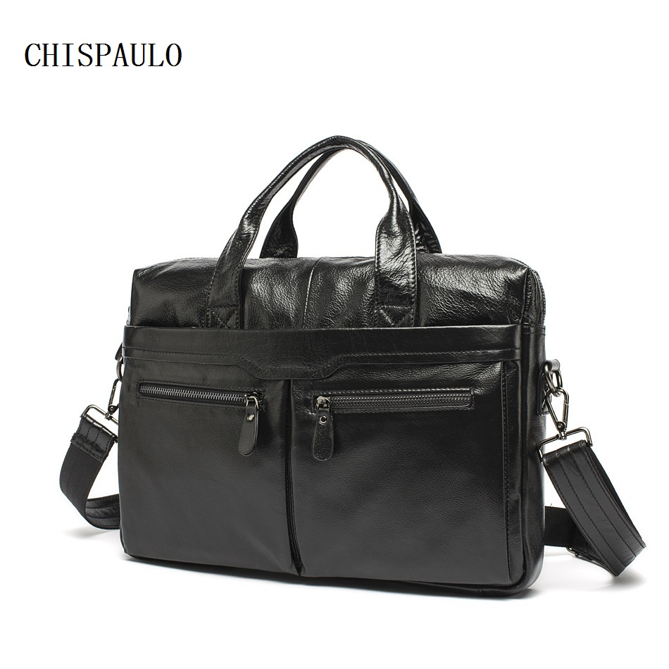 CHISPAULO Genuine Leather Bag Casual Men Handbags Cowhide Men Crossbody Bags Men's Travel Bags Tote Laptop Briefcases Bag T677 contact s genuine leather men bag casual handbags cowhide crossbody bags men s travel bags tote laptop briefcases men bag new