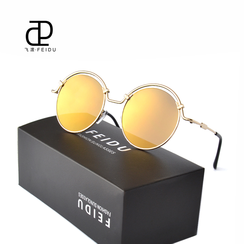 FEIDU Round Steampunk Sun glasses Women Coating Metal Temples Sunglasses Fashion Flat Panel Lens Luxury Brand Designer With Box