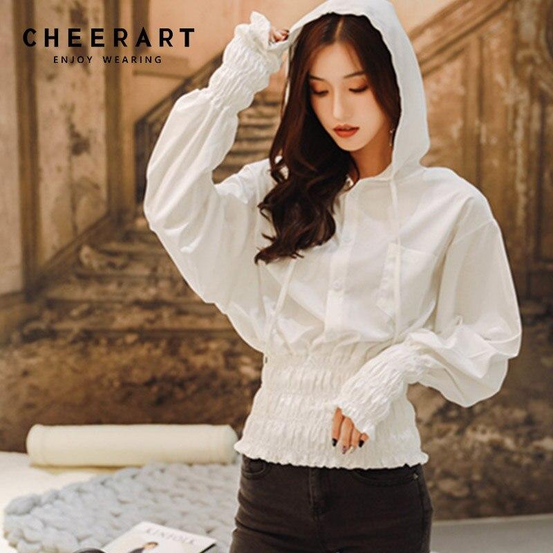 acc4dc999705 Cheerart Autumn White Hoodie Women Tunic Loose Ladies Hoodies Thin Lantern  Sleeve Sweatshirts Pullover Korean Hoodie