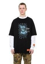19SS Heron Preston T Shirt Men Women Spider Web Print  Embroidery Heron Preston Top Tees High Street Hip Hop Kanye West Tee
