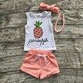 2016 del verano del bebé trajes cortos coral blanco piña boutique de ropa para niños establece collar a juego y diadema