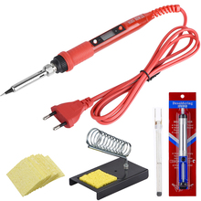 JCD 220V 80W Electric Soldering iron LCD Adjustable Temperature Solder Welding rework soldering irons kit pump stand holder tips