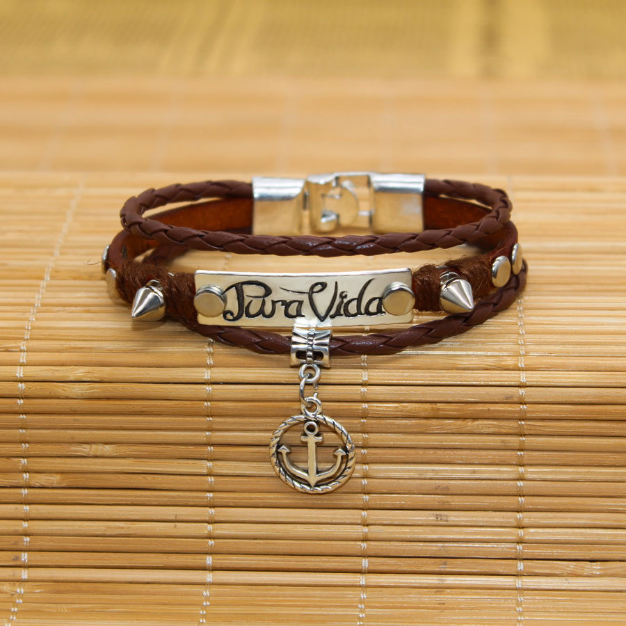 Jewelry & Accessories Trustful Wbo484 New High Quality Antique Silver Plated Braided Leather Bracelet Foreign Trade Jewelry Rivets Bracelet Letter