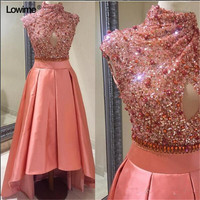 Sexy Elie Saab Long High Low Sequin Crystal Formal Evening Prom Party Dress Turkish Evening Gowns Dresses Robe De Soiree 2018