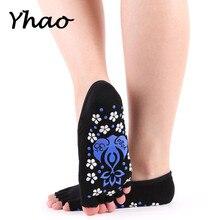 Yhao Women Toeless Bandage Yoga Socks Anti Skid Good Grip Ballet Pilates Fitness Low Cut Cotton For Dancer