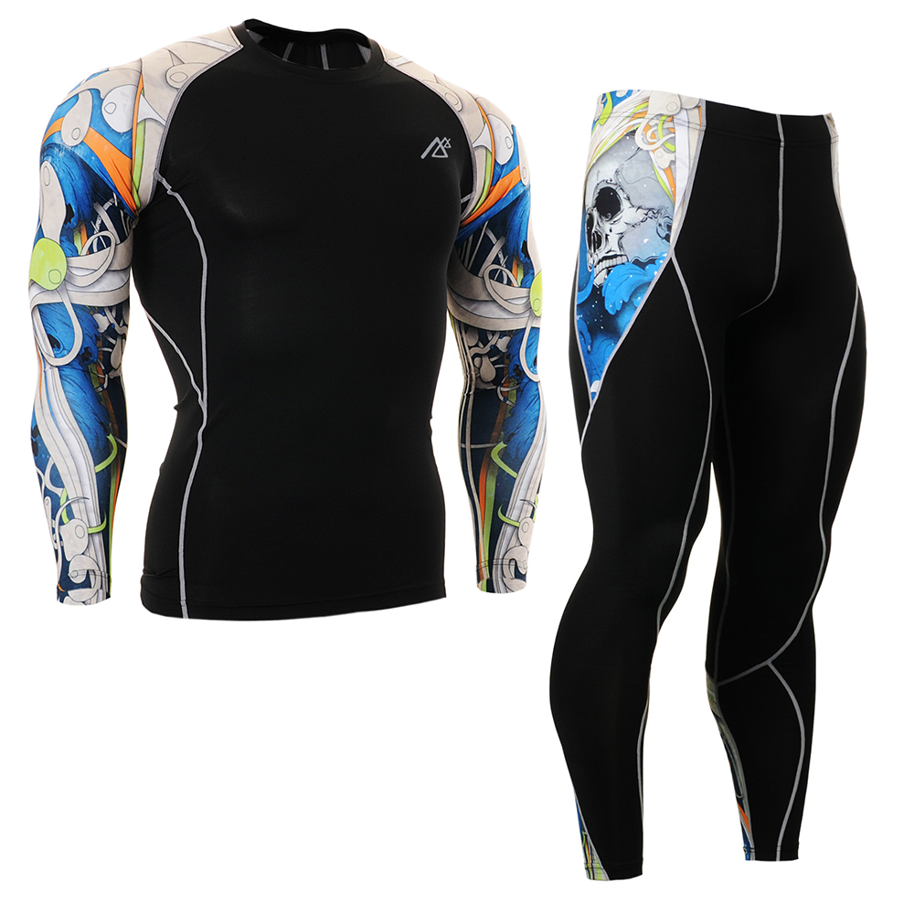 Mens Running Suit Compression Shirts&Tights Set Training Sportsman Wear Workout Fitness  ...