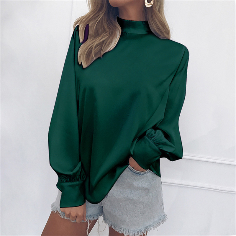 2019 NEW Autumn Plus Size Casual white Shirts Women Office Blouses Lantern Sleeve Ladies Chiffon Shirt Loose Tops Blue Blusas in Blouses amp Shirts from Women 39 s Clothing