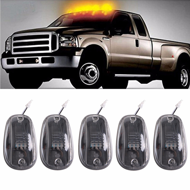 Liplasting 5 X Transpa Lens Cab Roof Running Amber 9 Led Marker Lights For Dodge Ram 03 16 Car