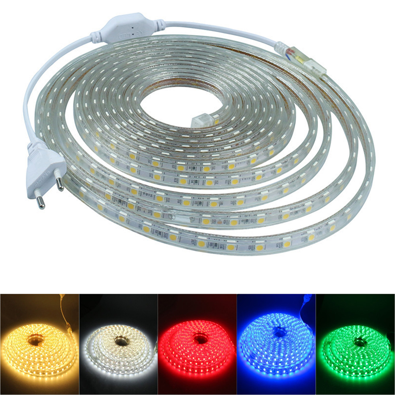 220V LED Strip Light 5050 Flexible Waterproof LED Ribbon Light LED Rope Light With EU Power Plug 60Led / M Bright Than 5630