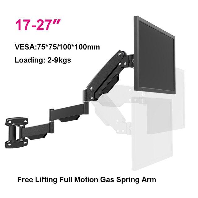 "BL LG312B Ultra long Gas Spring Arm Wall Mount Monitor Holder Full Motion Heavy Duty 17 27"" LCD TV Mount Bracket Loading 2 9kgs"