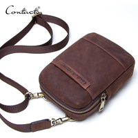 CONTACT'S genuine leather vintage men phone bag for belt shoulder bag with card holders male travel waist pack crossbody bags