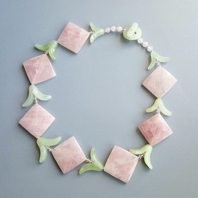 LiiJi Unique Natural Rose Quartzs New Jades Leaves with Jades Toggle Clasp Necklace 49cm/20