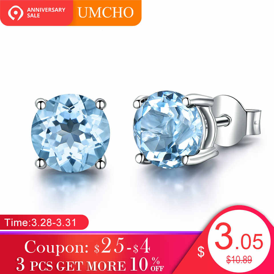 b8bfdf82e UMCHO Genuine 925 Sterling Silver Stud Earrings for Women Sky Blue Topaz  Earrings Fine Jewelry Blue