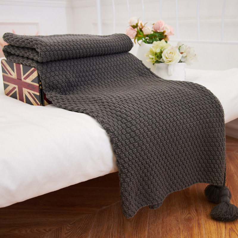 New Arrival 100 Cotton Handmade Sofa Bed Knitted Throw Blanket 130 170cm Bedding Quilt Travel Plane Plaids Bedspread 10 Colors