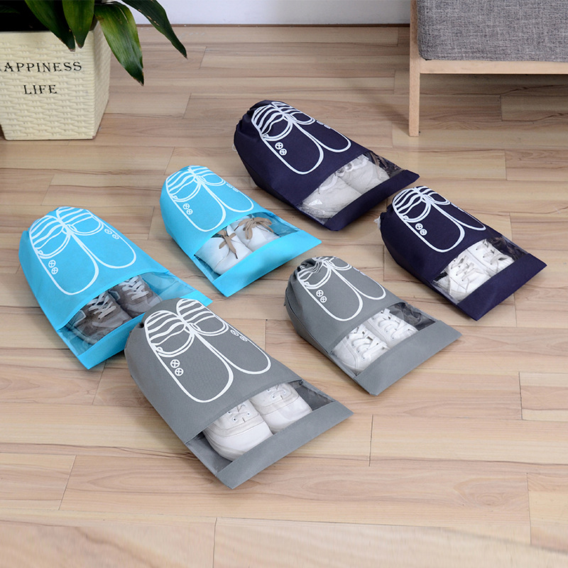 1pcs Drawstring Shoes Storage Bag Travel Storage Organizer Portable Package Bags Waterproof Wardrobe Home Non-Woven Pouch