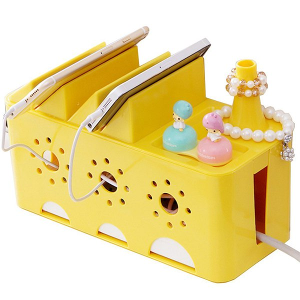 цены Cable Management Box Desk Power Socket Wire Tidy Storage Organiser yellow