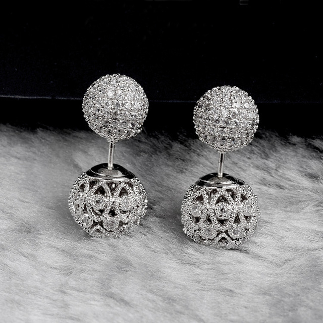 HIBRIDE Fashion Exquisite Design Micro Pave Rhinestone Stud Earrings Double Side Ball Flower Hollow Out Silver Earring E-252