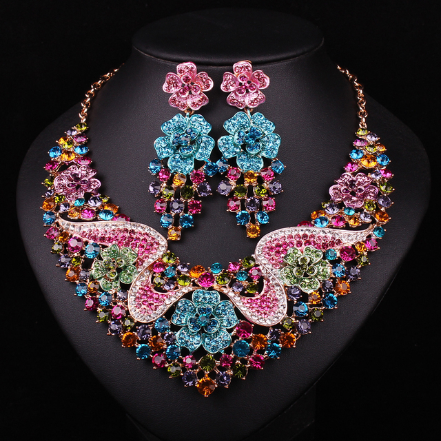 Fashion Bridal Jewelry Set Wedding Party Accessories Rhinestone Necklace Earring For Brides Accessories Christmas Gift For Women