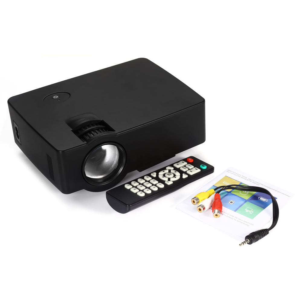 Coolux E08 LCD Projector 1500 Lumens 800 x 480 Pixels 1080P HD Media Player with Airplay Miracast цена