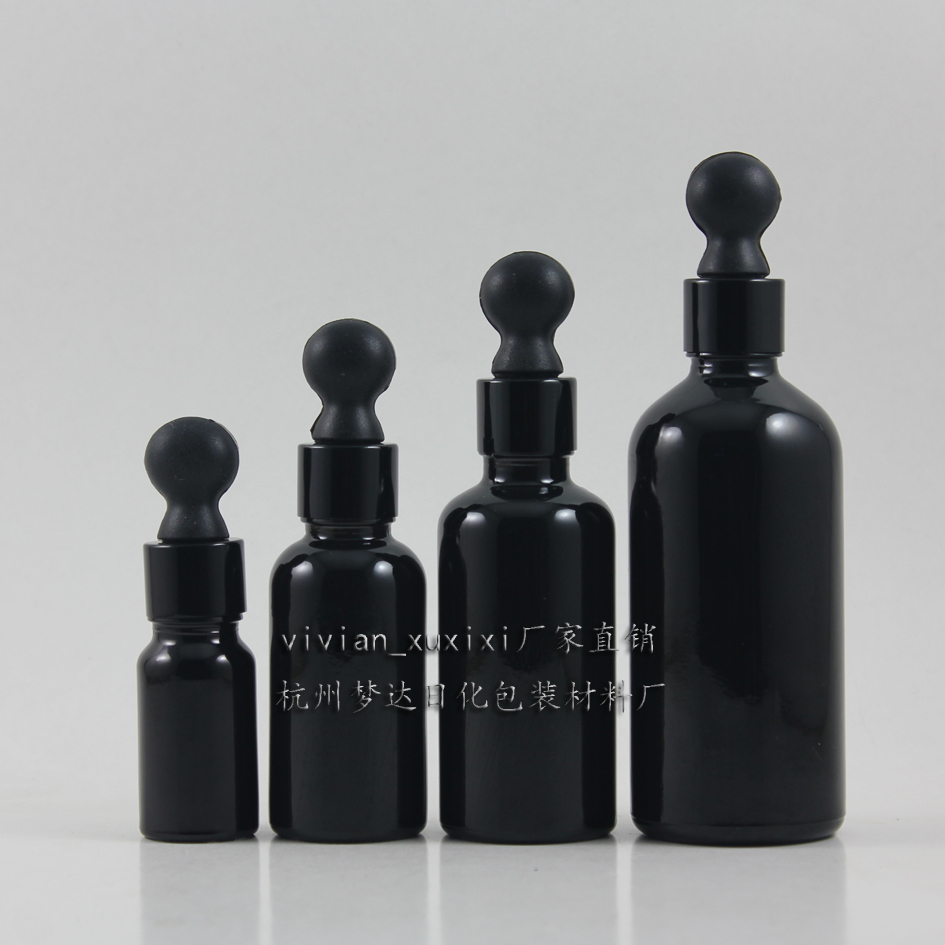 ขวดแก้วสีเข้มขนาด 50 มล. สำหรับน้ำมันหอมระเหย, ขวดแก้วหยดสีดำเงางามขนาด 50 มล. พร้อมฝาหยดสีดำ, ขวดแก้วสีดำ